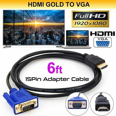 6FT HDMI Gold Male To VGA HD-15 Male 15Pin Adapter Cable 1080P for PC TV DVD