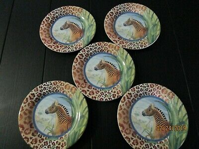 """GIEN France Savane plates- 6 1/2"""" across- set of five in mint condition"""