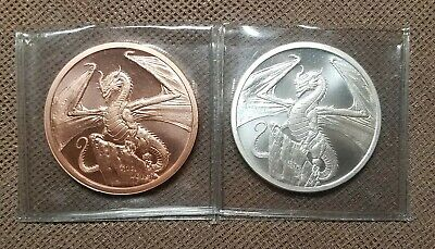 World of Dragons Set 1oz Silver Welsh and 1oz Copper Welsh Rounds BU