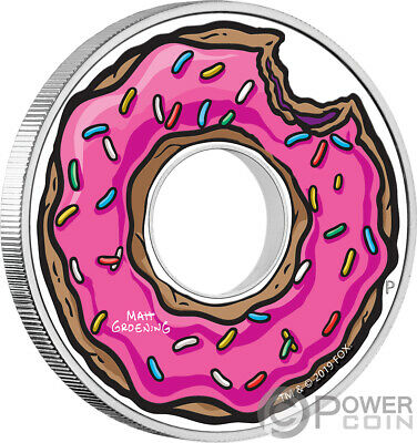 DONUT Simpsons 1 Oz Silver Coin 1$ Tuvalu 2019
