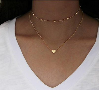 Fashion Simple Double layers Choker Heart Pendant Necklace Chain Women Jewelry