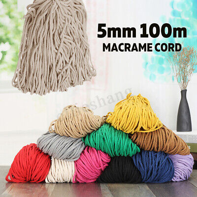 5mm 100m Macrame Rustic Rope Colorful Cotton Twisted Cord String DIY Hand Craft