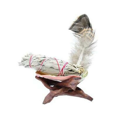 Small Abalone Shell, Tripod, White Sage Smudge Stick & Feather Kit (Cleansing)