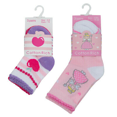 NEW TICK TOCK - Baby Girls Pack of 3 Casual Socks Pink Fairy Cherry Design Gift