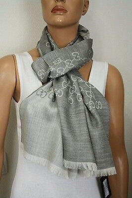 5de40bbe29cd GUCCI 165904 KNIT Scarf with Gg Jacquard Pattern 17 11 16x70 7 8in ...