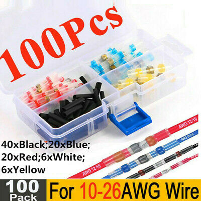 5Sizes 100PCS Solder Sleeve Heat Shrink Butt 26-10 AWG Wire Terminal Connectors