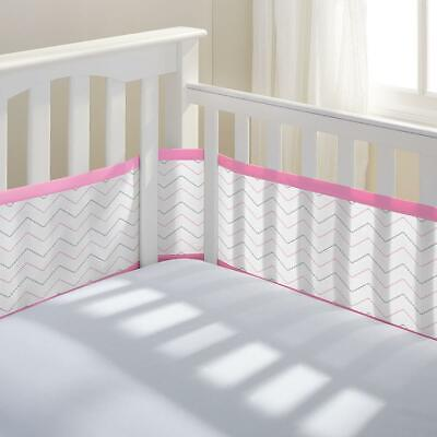 Breathable Baby Crib Liner - Pink Chevron