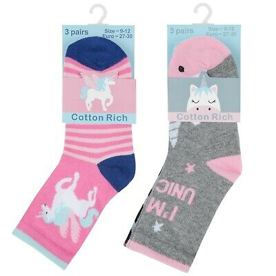 NEW Tick Tock - Girls Pack of 3 Design Socks Pink Grey Unicorn Design Gift Pack