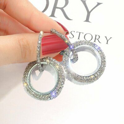 Silver Rose Gold Crystal Round Hoop Earrings Women Jewelry Party Wedding Bridal