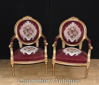 Pair French Empire Arm Chairs - Gilt Fauteuils