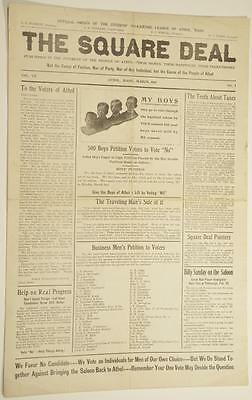 1914 Pre Prohibition Newspaper The Square Deal Athol MA Boy Scouts Ban Saloons