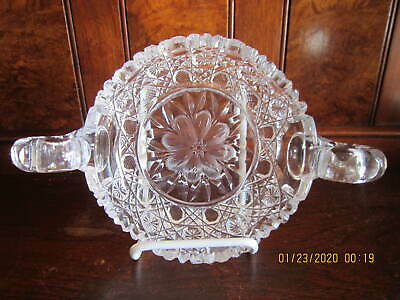 American Brilliant Period Cut Glass Double Handle Floral Etched Nappy Dish