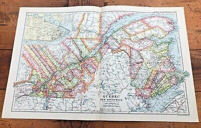 1900s double page map from g.w. bacon - quebec & new brunswick