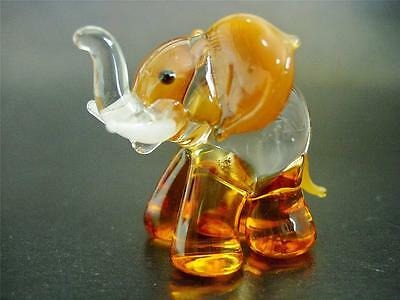 Glass ELEPHANT Clear & Caramel Brown Glass Ornament Painted Glass Animal Gift