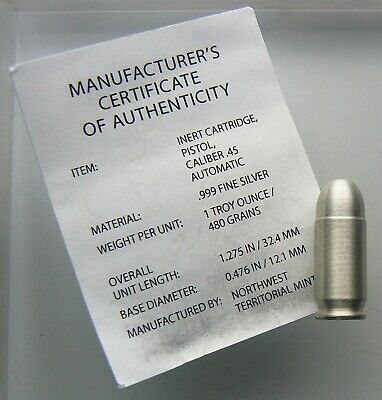 1 oz Silver Bullet .45 Caliber .999 Fine by NWTM with COA