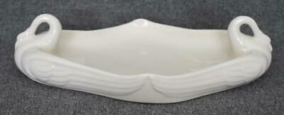 Lovely Art Deco Era Double Swan Handled Porcelain Cream Colored Centerpiece Bowl