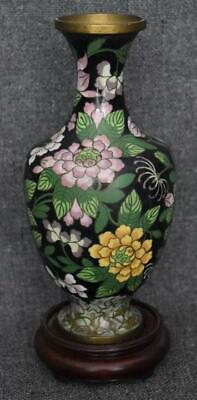 Antique Chinese Export Cloisonne Floral Vase Urn Black Ground Pink Yellow Flower
