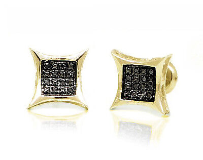 ba43dff49 Sterling Silver Black Diamond Earrings .925 Yellow Plated Micro-Pave Studs  .05ct