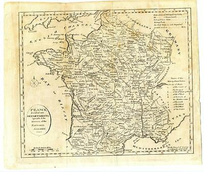 1802 Copper Engraving Morse Map France Divided into Compartments Gridley