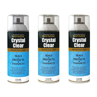 Rust-Oleum Crystal Clear Spray Paint Lacquer Top Coat Gloss Matt Semi Gloss
