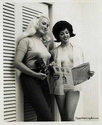 Bunny Yeager 60s Vintage Self Portrait Photograph With Model For Rogue Magazine