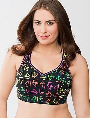 8ca39d2d8f738 -NWOT SPORT by CACIQUE DAZZLING NEON PRINT MOLDED UNDERWIRE SPORTS BRA sz  40D-