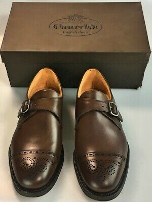 wholesale dealer 5ccd2 301a9 CHURCH'S SHOES BROWN Calf Benchmade Silver Buckle Exmouth Monkstrap 8 Us 41  New