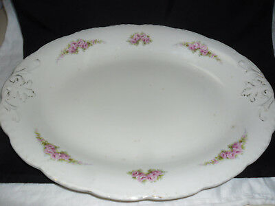 Large 41Cm Antique  Meat Serving Plate With Shabby Pink Roses Design Chic.