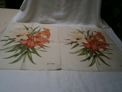 2 Large Silk Type Ladies Hankerchiefs Designed And Signed Jim Thompson - Lilies