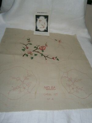 3 Pc Vintage Partly Completed Linen Duchess Set For Dressing Table -Pink Blossom