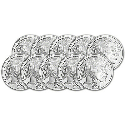 TEN (10) 1 oz. Silver Round - Sunshine Buffalo - .999 Fine