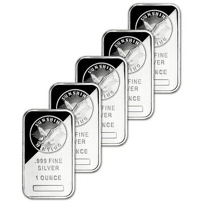 FIVE (5) 1 oz. Silver Bar - Sunshine Minting - .999 Fine - Sealed