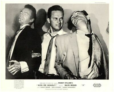 Kiss Me Deadly Original Lobby Card Gaby Rodgers with gun on bed Mickey Spillane