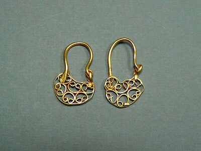 2 Ancient Gold Earrings Open Work Design Byzantine 400-600 Ad