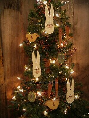 = 9 Spring EASTER BUNNY Rabbit Egg Chick Carrots Primitive Wood Ornies Ornaments
