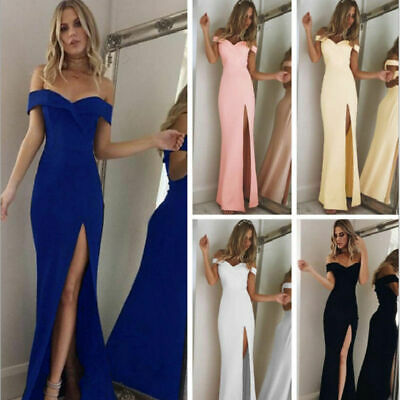 Women Split Off Shoulder Evening Party Prom Bridesmaid Ball Gown Formal Dress