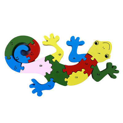Wooden English Alphabet Gecko Puzzles Children Early Education Toy B