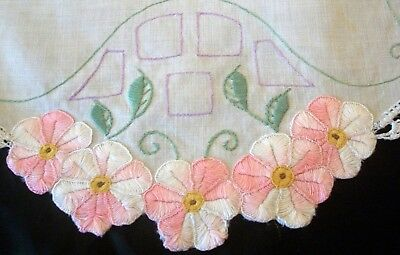 Stunning Centrepiece Doily Cut Out Pink Flowers Vintage Hand  Embroidered