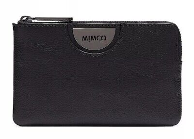 MIMCO Echo Black Gunmetal Pouch Leather Wallet Purse Clutch BNWT Authentic