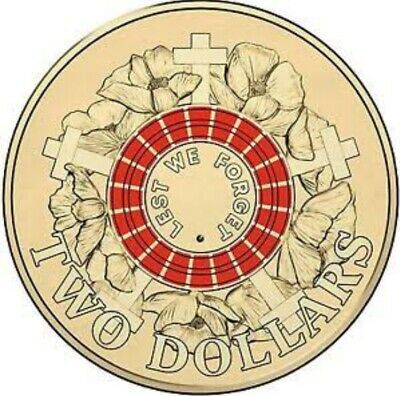 Australian Two Dollar $2 coin - 2015 ANZAC RED Remembrance Lest we Forget - UNC