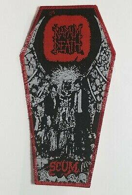 Napalm Death  Scum  Red Border Red Logo  WOVEN PATCH