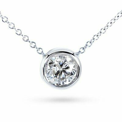 "1 Ct Round Diamond Bezel Solitaire Pendant With 16"" Chain In 14K White Gold Over"