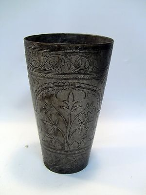 """~ Antique INDO-PERSIAN Silvered Brass Tumbler Vase 6"""" Hand Tooled Cup #3, Signed"""