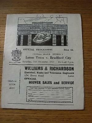 18/12/1965 Luton Town v Bradford City  (Creased, Folded, Score Noted On Cover).