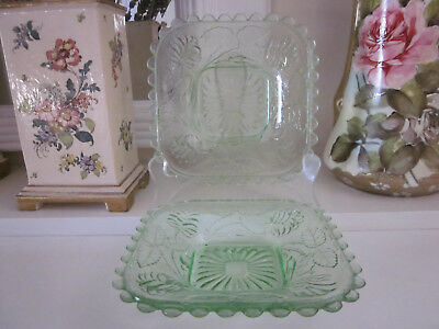A Pair Of Crown Crystal Green Depression Glass Butter Plates