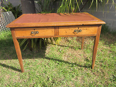 Antique Pine Twin-Drawer Writing Desk With Vinyl Insert Top