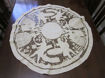 Amazing Antique Hand Embroidered Round Crinoline Ladies And Gents Tablecloth