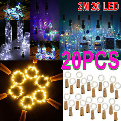 20PCS 2M 20 LED Bottle Fairy String Lights Battery Cork Shaped Party Carnival UK