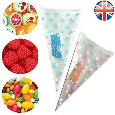 *UK Seller* Polka Dot Medium Cellophane Cone Bags Twist Ties Party Sweet Cello