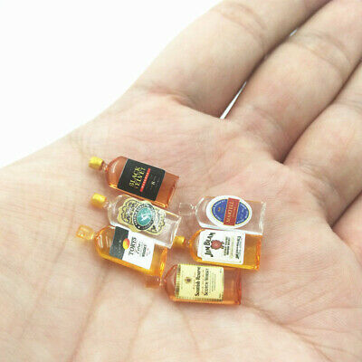 6Pcs/Set Miniature Bottles Wine Whiskey Bar Drink For 1:12 Dollhouse Decoration